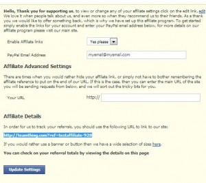 Use the affiliate settings screen to input your PayPal email address and view your affiliate link